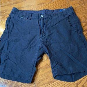 Polo black Linen Shorts